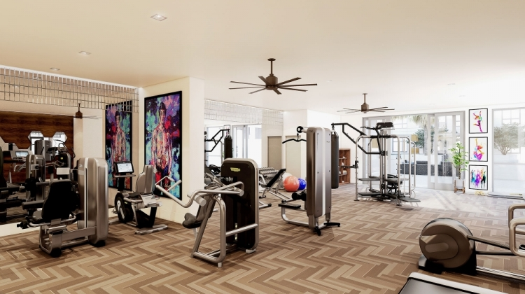 Cobalt Apartments fitness center with workout equipment