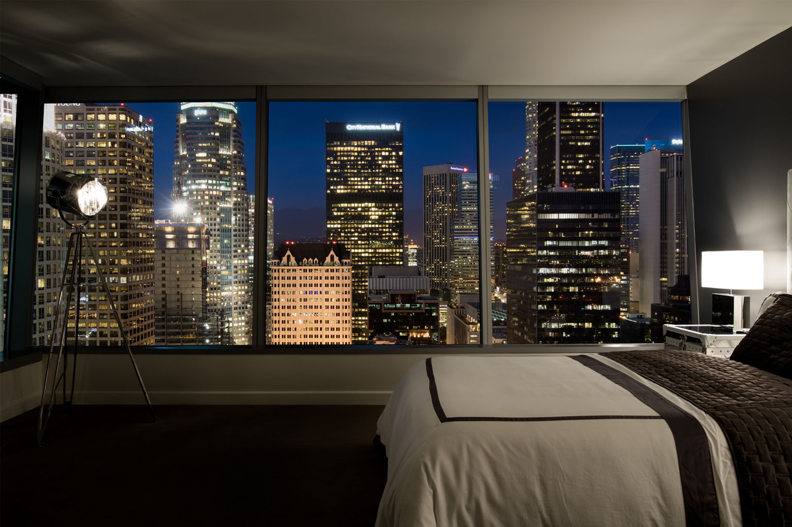 Watermarke Tower Apartments bedroom view of Downtown Los Angeles