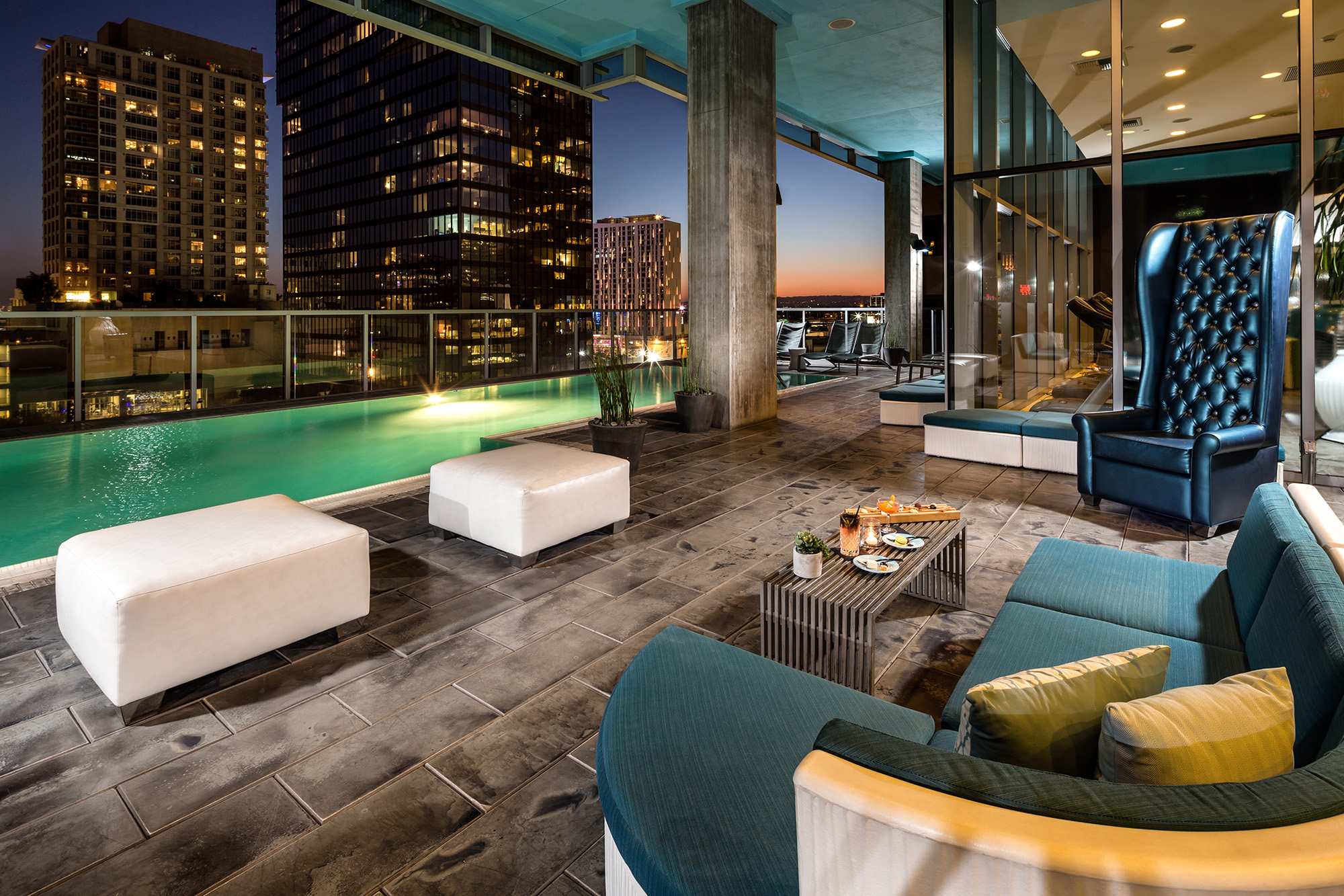 Outdoor infinity pool at Watermarke Tower with Downtown Los Angeles city views