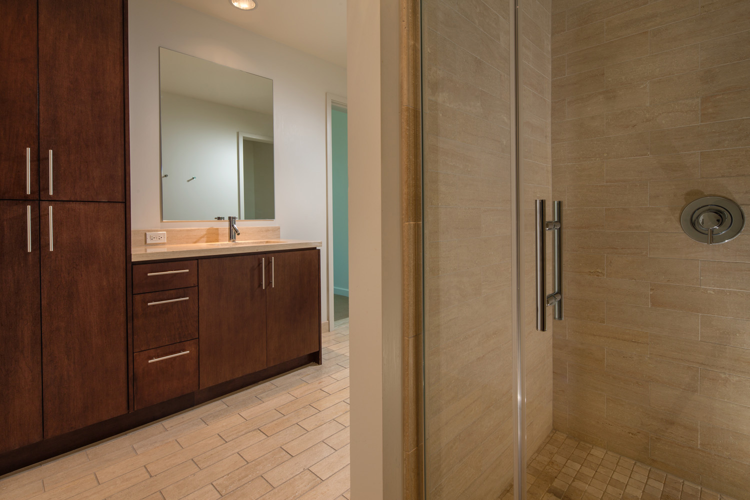 Watermarke Tower Apartments 2 bedroom 2 bath interior view of bathroom with shower and sink