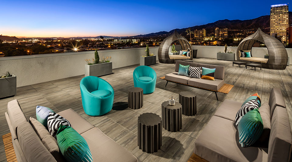 Onyx Apartments sky deck with city views of Glendale