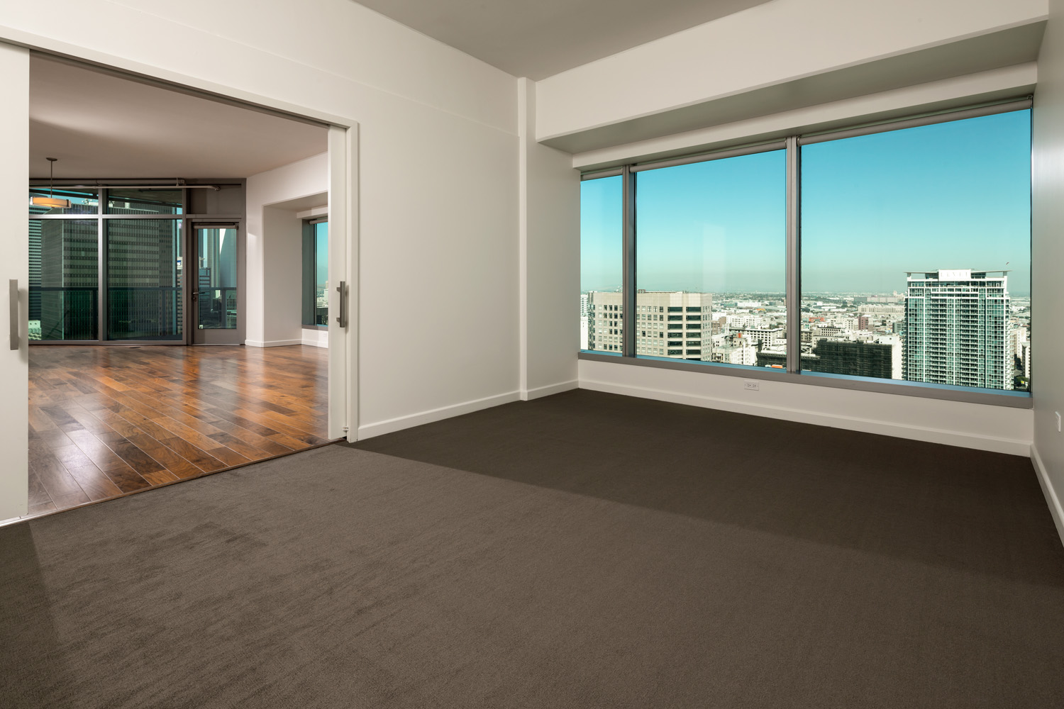 2 bedroom 2 bath interior space at Watermarke Tower Apartments with views of Downtown Los Angeles