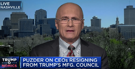 Appearances: Squawk on the Street– Reaction to CEO's leaving President Trump's Bu