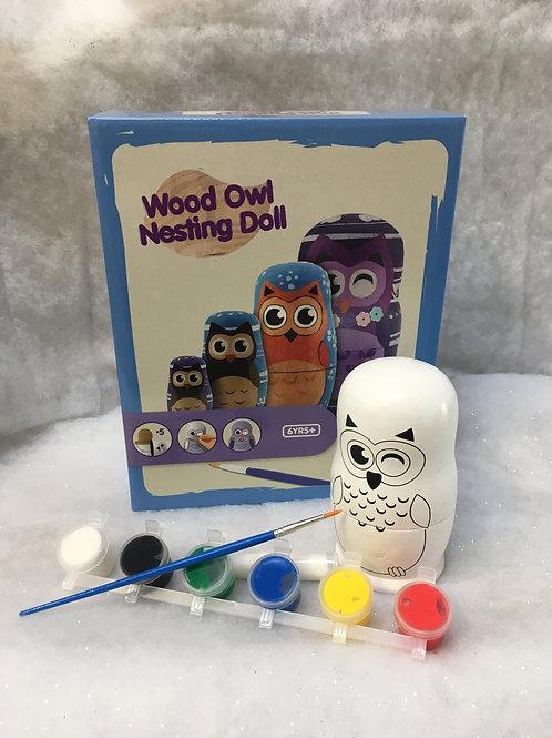 Wooden Owl Nesting Doll