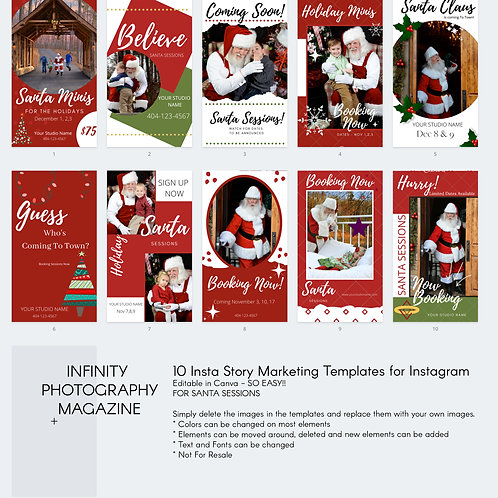 SANTA (bw) Minis marketing template for Insta Stories