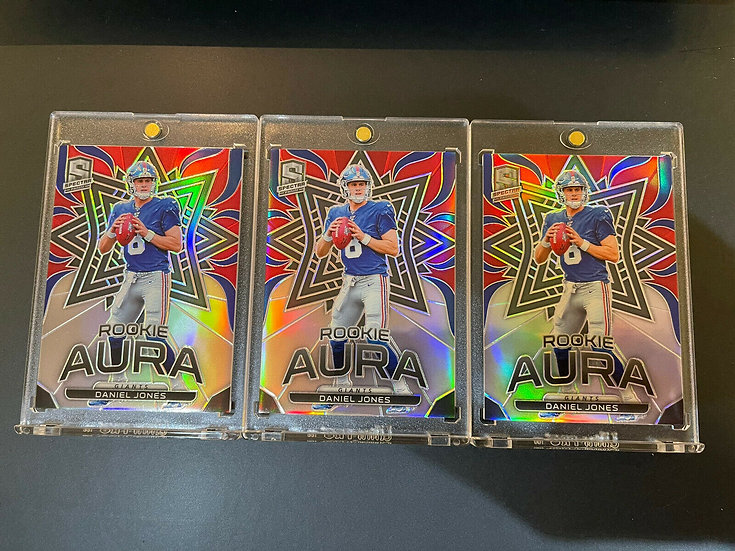 3x LOT: Daniel Jones 2019 Spectra Rookie Aura Prizm #d/99 Rookie Card NY Giants