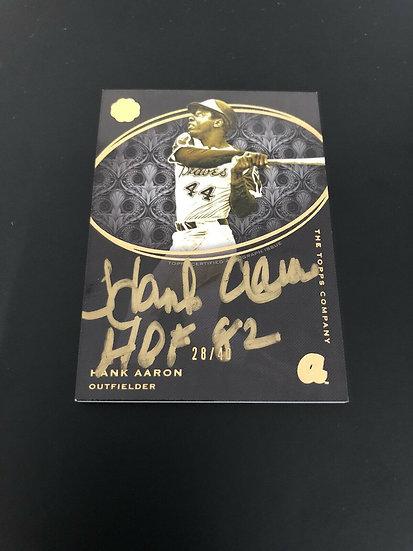 """2016 Topps Hank Aaron Golden Engraving Autograph #/40 AUTO Inscribed """"HOF 82"""" 🔥"""