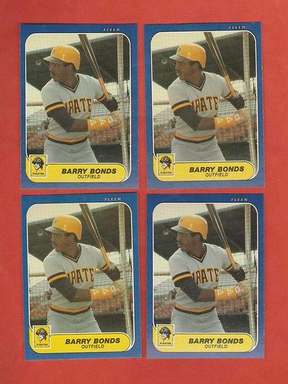 4x Lot: 1986 Fleer Update Barry Bonds Rookie Card #U-14 RC Pirates