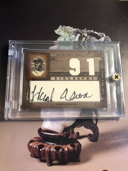 2005 Donruss Biography Hank Aaron Autograph Home Run #91 Auto HOF Braves