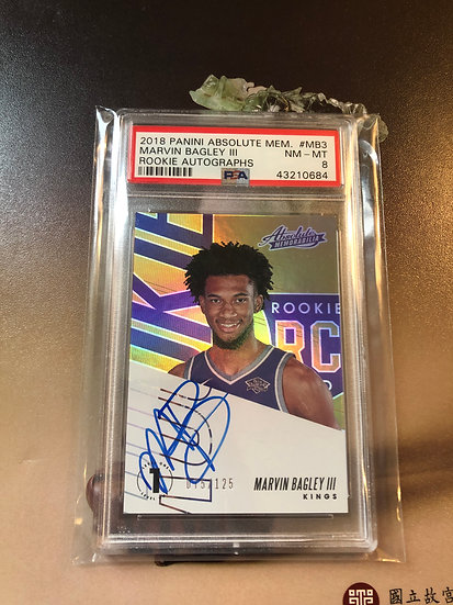 2018-19 Panini Absolute Marvin Bagley III Autograph RC #/125 PSA 8 AUTO Kings