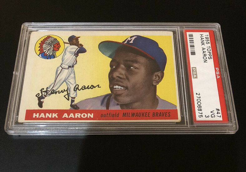 1955 Topps Hank Aaron #47 PSA 3 VG Milwaukee Braves -Excellent Color Eye Appeal!