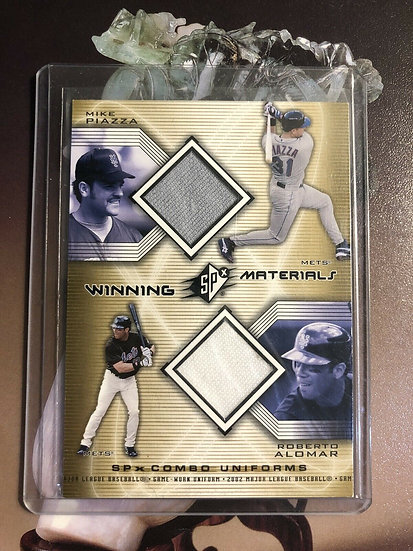 2002 SPx Mike Piazza Roberto Alomar Winning Materials Game Used Jersey Mets