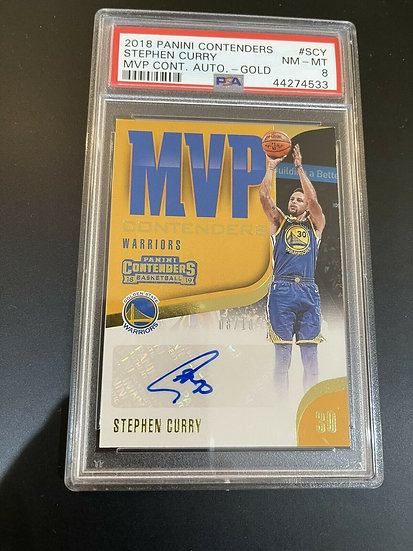 2018 Panini MVP Contenders Gold Stephen Curry Warriors AUTO #/10 PSA 8 Autograph