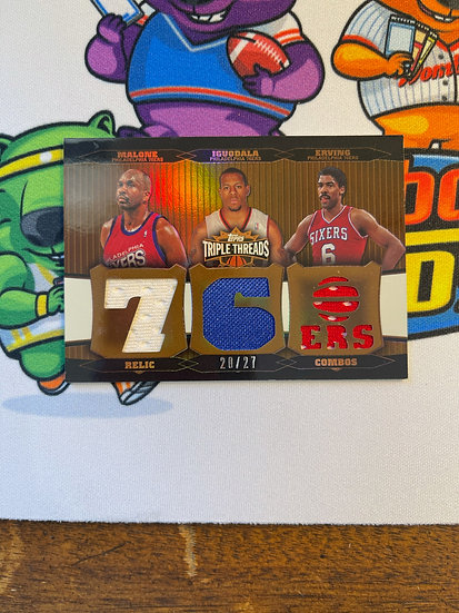 2007 Topps Triple Threads Jersey Moses Malone Andre Iguodala Julius Erving 20/27