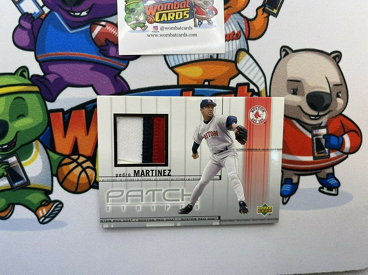 2001 UD PATCH STRIPES #PS-PM PEDRO MARTINEZ HOF GAME USED JERSEY 3 COLOR Red Sox
