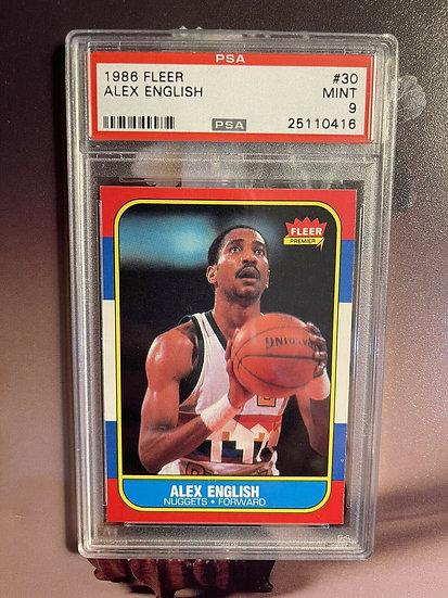 1986 Fleer Basketball Alex English #30 PSA 9 MINT