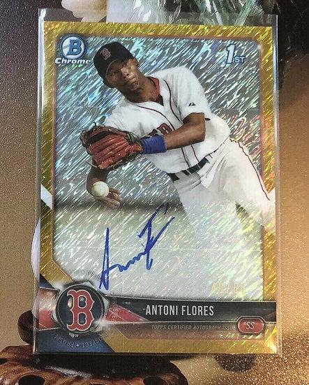 2018 Bowman Chrome Antoni Flores AUTO 1st RC Gold Shm Ref #/50 Autograph Red Sox