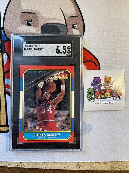 1986 Fleer Basketball Charles Barkley ROOKIE RC #7 SGC 6.5 EX-NM+ HOF