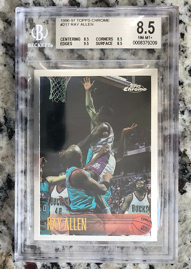 1996-97 Topps Chrome Ray Allen ROOKIE Card RC #217 SP BGS 8.5