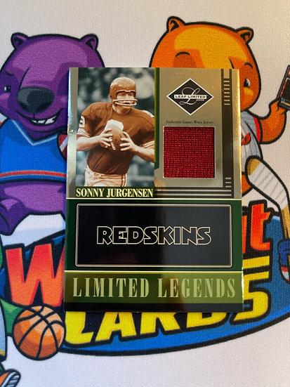 2006 Leaf Limited Sonny Jurgensen Game Worn Jersey #d/100 Legends Washington