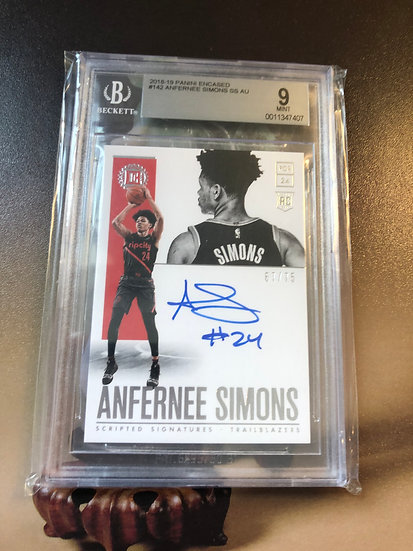 2018-19 Panini Encased Anfernee Simons Autograph RC #d/75 BGS 9 AUTO 10 Blazers
