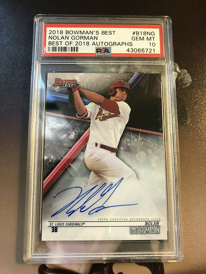 Nolan Gorman 2018 Bowman's Best Of '18 Cardinals RC Auto Autograph PSA 10 !!