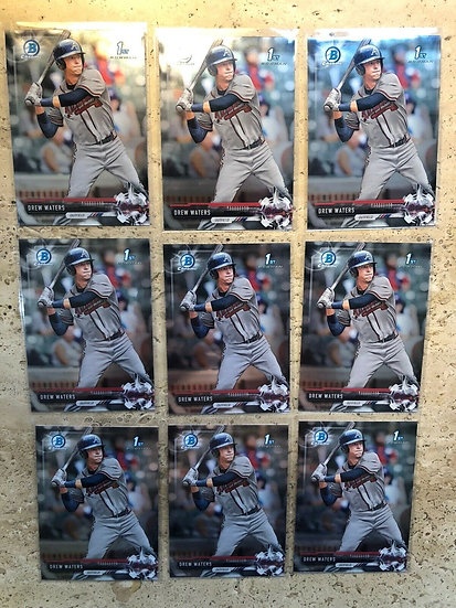 (9x) 2017 Bowman Chrome Draft Drew Waters Braves 1st RC Rookie Card Non Auto Lot