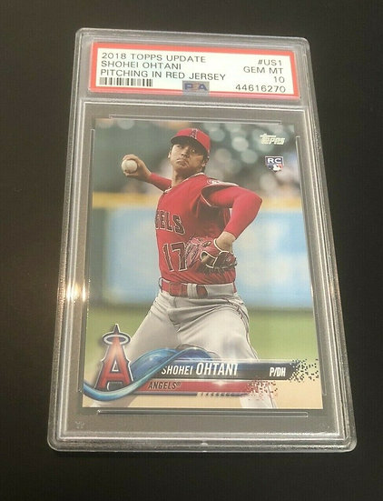 2018 Topps Update #US1 Shohei Ohtani Pitching In Red Jersey RC Rookie PSA 10 GEM