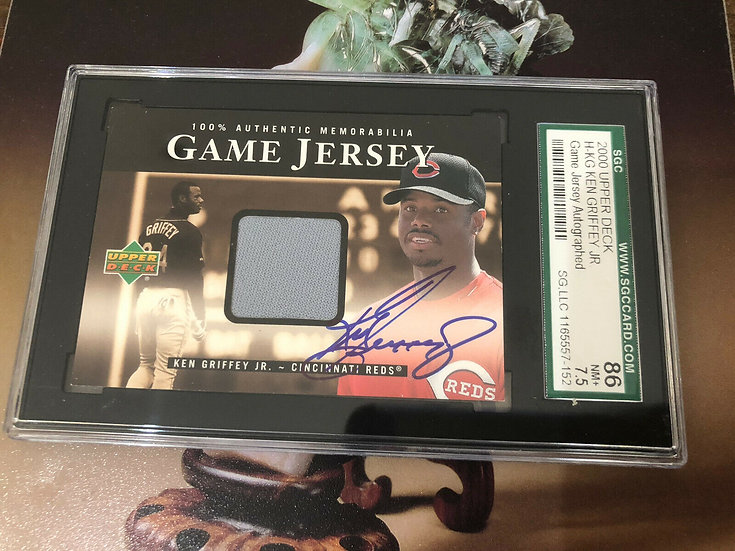 Ken Griffey Jr. 2000 Upper Deck Game Used Jersey Autograph SGC 7.5 SP Auto Reds