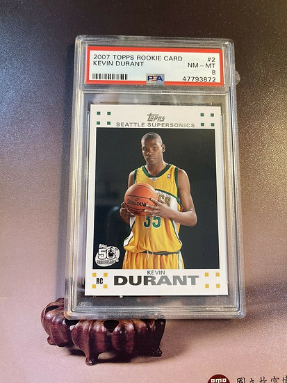 2007 Topps Rookie Card Kevin Durant #2 PSA 8 NM-MT RC Nets