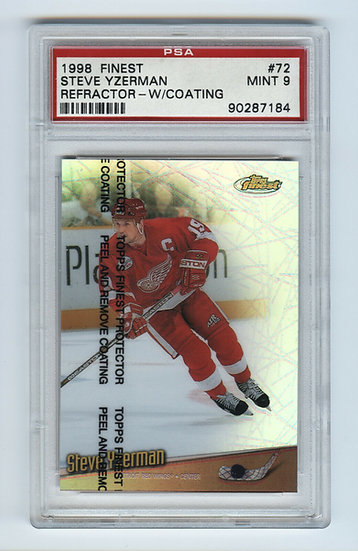 Steve Yzerman 1998 Topps Finest Refractor WITH COATING #72 PSA 9 MINT Red Wings