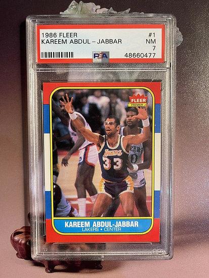 1986 Fleer Basketball Kareem Abdul-Jabbar #1 PSA 7 NRMT
