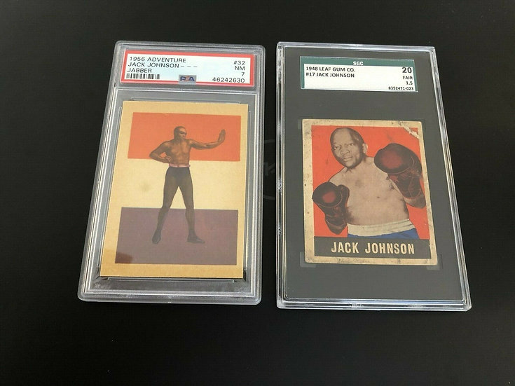"2x lot: Jack Johnson 1948 Leaf #17 SGC 20 &1956 Adventure ""Jabber"" #32 PSA 7 HOF"