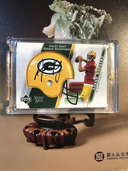 2005 UD SWEET SPOT AARON RODGERS RC ROOKIE CARD AUTOGRAPH PACKERS HELMET AUTO SP
