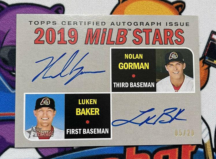 2019 Topps Heritage Nolan Gorman Luken Baker Dual Auto MiLB STARS #/20 Autograph