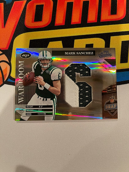2009 Playoff Absolute Mark Sanchez Patch 2/25 NY Jets War Room RC Rookie
