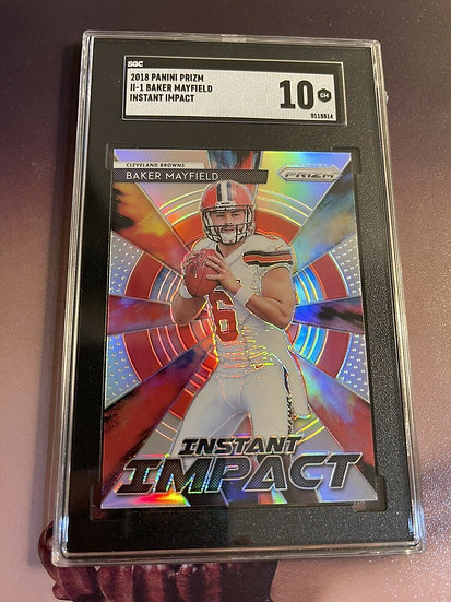 2018 Prizm BAKER MAYFIELD SILVER INSTANT IMPACT RC▪️SGC GRADED 10 GEM MINT! RARE
