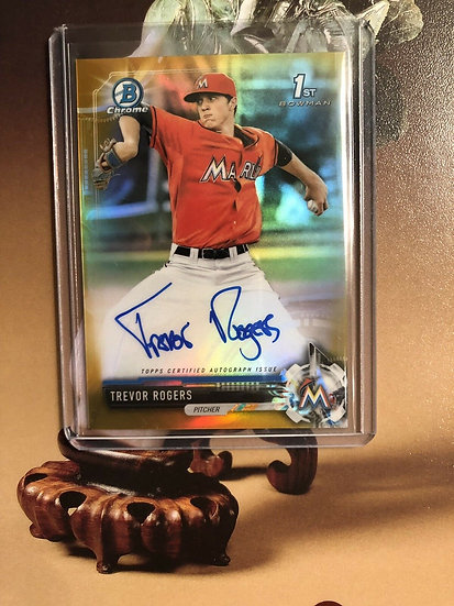 2017 Bowman Chrome Trevor Rogers AUTO RC Gold Ref #d/50 Autograph ROOKIE Marlins