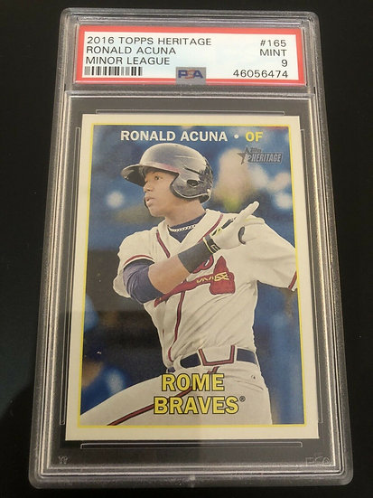 2016 Topps Heritage Minors Ronald Acuna 1st XRC RC PSA 9 Mint Regrade Candidate!