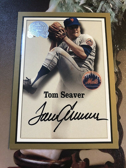 """Tom Seaver 2000 FLEER """"GREATS OF THE GAME"""" ON CARD AUTO NY Mets Autograph SP HOF"""