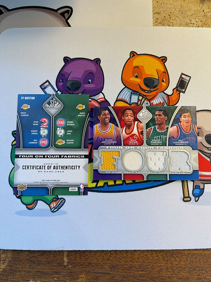 2009-10 SP Four on Four Fabrics Jersey/99 Magic Johnson Dennis Rodman Larry Bird