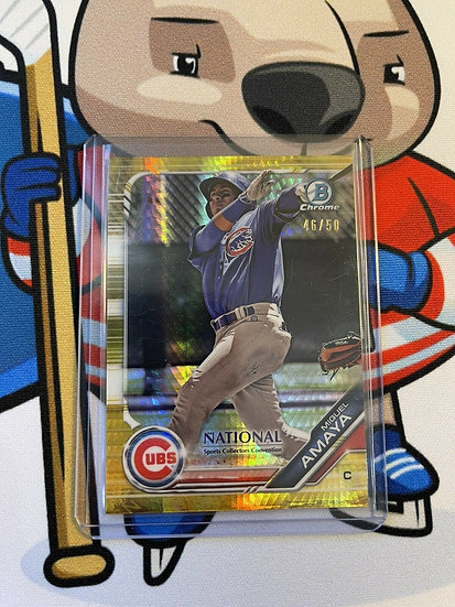 2019 Bowman Chrome Miguel Amaya 1st RC Rookie Gold Refractor Prism #/50 National
