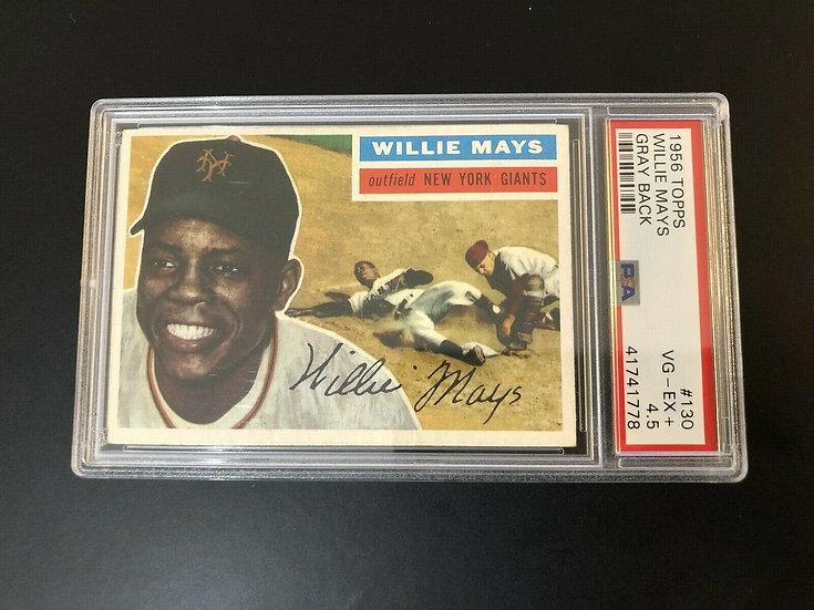 1956 Topps #130 Willie Mays PSA 4.5 VG-EX+ NY Giants HOF - Great Eye Appeal !