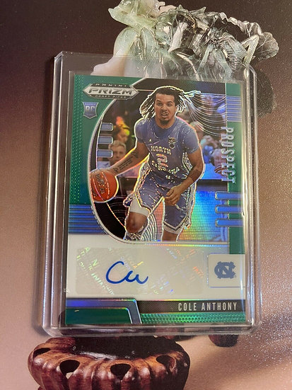 2020 Panini Prizm Draft Picks Cole Anthony GREEN PRIZM AUTOGRAPH RC Rookie Card