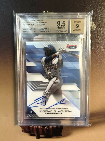 2017 Bowman's Best RONALD ACUNA AUTOGRAPH RC BGS 9.5 GEM AUTO 9 BRAVES ROOKIE***