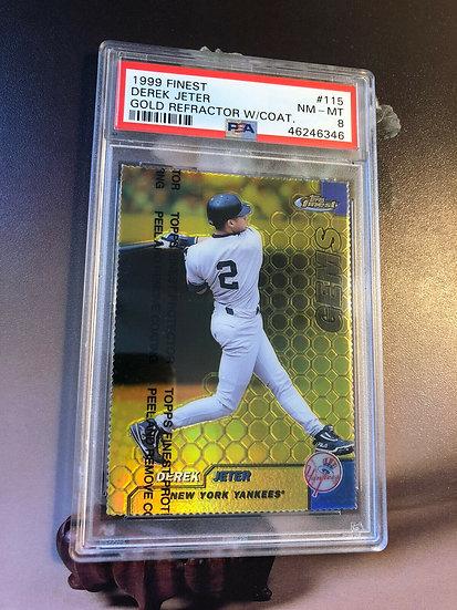 Derek Jeter 1999 Topps Finest Gold Refractor PSA 8 NM-MT NY Yankees #115 #d/100