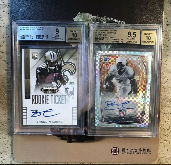 2014 Contenders Brandin Cooks Rookie Ticket RC Auto & BGS 9.5 Bowman Chrome #/10