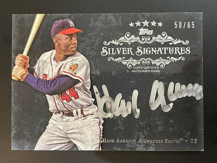 2013 Topps Hank Aaron Autograph #d 50/65 Five Star Silver Signatures Auto HOF