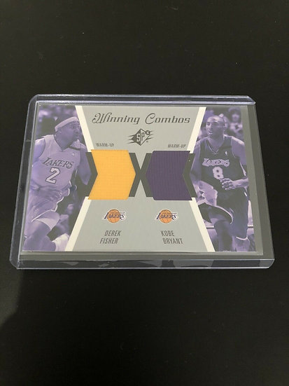 KOBE BRYANT DEREK FISHER DUAL GAME USED LAKERS JERSEY PATCH SP 2003-04 SPX