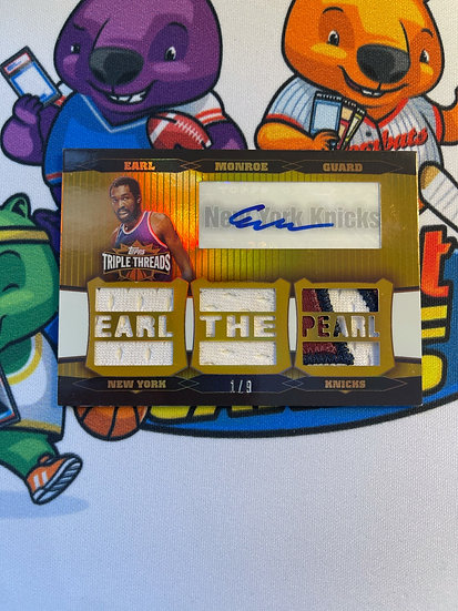 2007 Topps Triple Threads Earl Monroe 3 Color Patch Jersey auto #d 1/9 NY Knicks